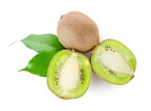 Fresh kiwi fruit with green leaves Royalty Free Stock Photos