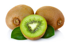 Fresh kiwi fruit with green leaves isolated on white Stock Image