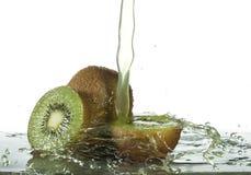 Fresh Kiwi Fruit juice splash Royalty Free Stock Image