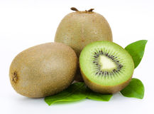 Fresh kiwi fruit and leaves Stock Photo