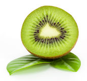 Fresh kiwi fruit and leaves Royalty Free Stock Image