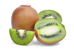 Fresh kiwi fruit with slice isolated on white Royalty Free Stock Photos