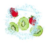 Fresh kiwi and strawberries in water Stock Images