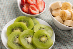 Fresh kiwi,  strawberry, banana Stock Photo