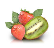 Fresh Kiwi Strawberry Fruit on White Stock Photo
