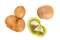 Fresh kiwis with funny deformations. Isolated on white royalty free stock photo