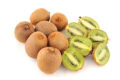 Fresh kiwis isolated on a white background. Ripe and juicy kiwi fruit on a white background royalty free stock image