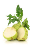 Fresh kohlrabi cabbage and a cut one Stock Photo