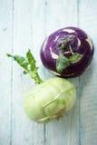 Fresh kohlrabi on the table Royalty Free Stock Photos