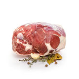 Fresh lamb leg with bone, spices, isolated Royalty Free Stock Photography