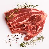 Fresh lamb meat on a white background.  Stock Photos