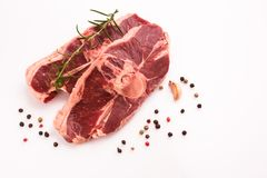 Fresh lamb meat on a white background.  Stock Photo