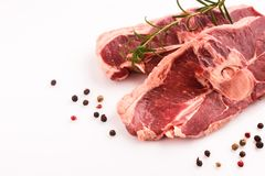 Fresh lamb meat on a white background.  Royalty Free Stock Photography