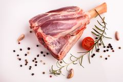 Fresh lamb meat on a white background.  Royalty Free Stock Image