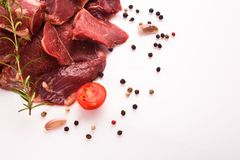 Fresh lamb meat on a white background.  Royalty Free Stock Photos