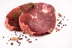 Fresh lamb meat on a white background.  Stock Image