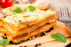 Fresh lasagna Stock Photos