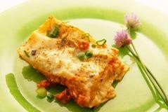 Fresh lasagna. With ragu sauce Stock Photos