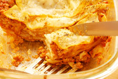Fresh lasagna. With ragu sauce Royalty Free Stock Photo