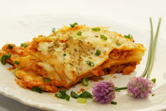 Fresh lasagna. With ragu sauce Royalty Free Stock Image