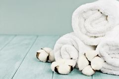 Fresh Laundered Towels and Cotton Flowers Against Blue Backgroun. Rolled up white fluffy towels with cotton flowers against a blurred blue background with free stock photo