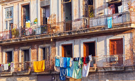 Fresh laundry on the balcony of old home, Havana Royalty Free Stock Image