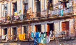 Fresh laundry on the balcony of old home, Havana Royalty Free Stock Image