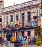 Fresh laundry on the balcony of old home, Havana Stock Photography