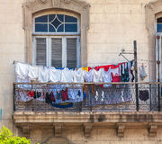 Fresh laundry on the balcony of old home, Havana Stock Photo