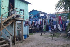 Fresh laundry at Caribbean village Stock Photos