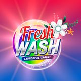 Fresh laundry detergent or doap cleaning product packaging with. Flower element Stock Photos