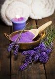 Fresh Lavender Flowers And Bath Salt stock image