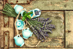 Fresh lavender flowers over rustic wooden background Stock Images