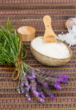 Fresh lavender flowers spa set Royalty Free Stock Photos