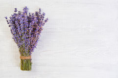 Fresh lavender flowers on white wood table background free space Royalty Free Stock Photography
