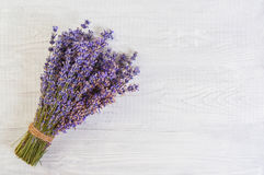 Fresh lavender flowers on white wood table background free space Royalty Free Stock Image