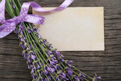 Fresh lavender over wooden background Royalty Free Stock Photo