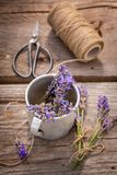 Fresh lavender preparation for home drying in summer. On wooden table royalty free stock image