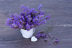 Fresh lavender in a small white bucket and white heart on grey wooden background stock images