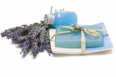 Fresh lavender and spa items. Royalty Free Stock Image