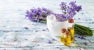 Fresh lavender on wood Royalty Free Stock Photos