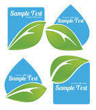 Fresh leaves on blue stickers Royalty Free Stock Photo