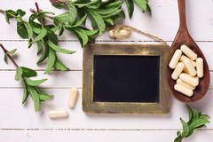 Fresh leaves of herb,  pills  in spoon and  blackboard on white Stock Images