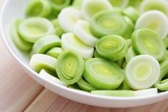 Fresh leek. Bowl full of fresh leek - fruits and vegetables Royalty Free Stock Photography