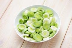 Fresh leek. Bowl full of fresh leek - fruits and vegetables Royalty Free Stock Images