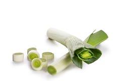 Fresh leek isolated on white. Freshly green leek on white background Royalty Free Stock Images