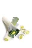 Fresh leek isolated on white. Freshly green leek on white background Royalty Free Stock Photo