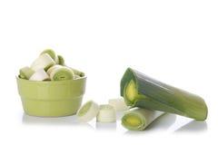 Fresh leek isolated on white. Freshly green leek on white background Stock Image