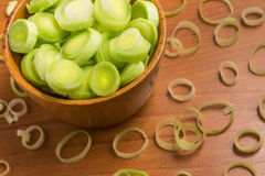 Fresh Leeks into a bowl Stock Photos