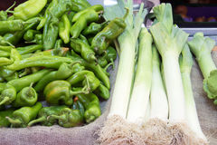 Fresh leeks and green peppers Stock Photo